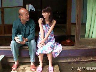 Asuka Hoshino Gives A Blowjob To An Old Man Outdoors