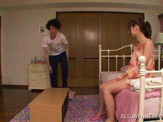 Sassy Japanese Babe Sucking Balls As She Gives A Stimulating Handjob